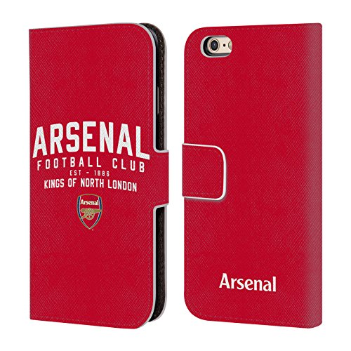 Official Arsenal FC Kings of North London 2018/19 Typography Leather Book Wallet Case Cover for iPhone 6 / iPhone 6s