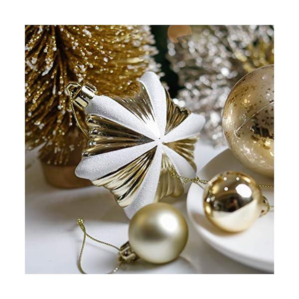 Valery Madelyn Palle di Natale 90 Pezzi di Palline di Natale, 3-10 cm Eleganti Ornamenti di Palla di Natale Infrangibili Bianchi e Oro per la Decorazione Dell'Albero di Natale 5 spesavip