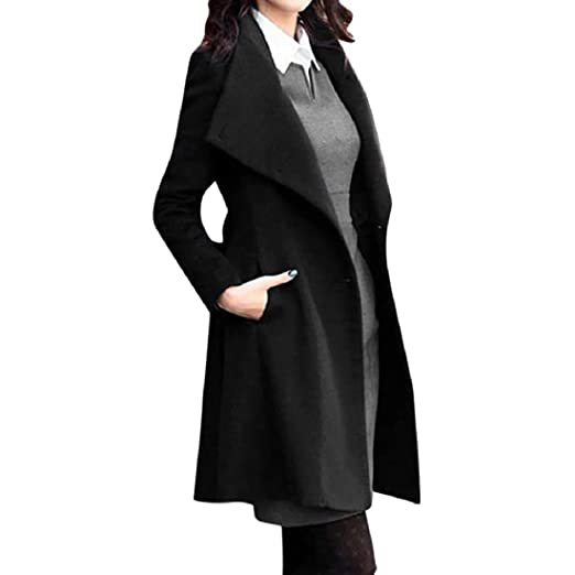 4a23cf12fb0 GONKOMA Clearance Women s Winter Lapel Wool Trench Coat Parkas Long Jacket  Outwear Overcoat Outdoor Coats