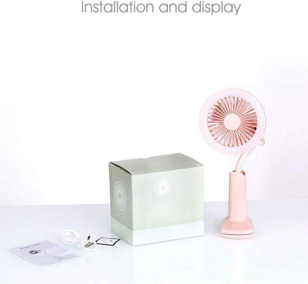 Two Wind Speeds and a Flexible Neck Pink Suitable for Dormitory Study Office Fill Light USB Fan Clip Fan