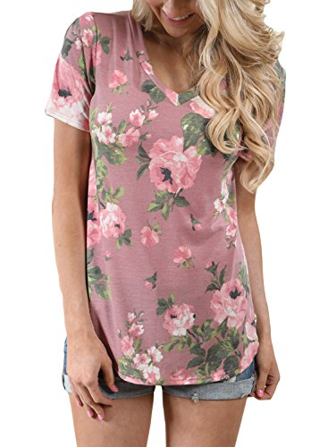 ZKESS Women Short Sleeve V-Neck Floral Printed Flower Blouse Casual Loose Tops T Shirt Large Size Pink