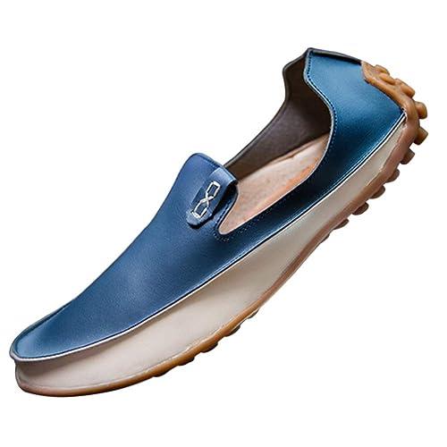 Tenthree Planos Zapatos Mocasines Hombre - Hombres Cuero Calzado Barco Cubierta Conducción Zapatilla Oficina Business Smart Trabajo Informal Formal Boda ...