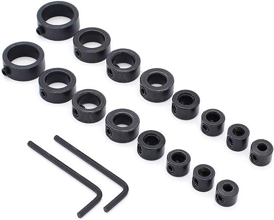 18 Pcs Topes para Taladro Anillo Posicionador con la Llave Hexagonal,3 16 mm Yuhtech Topes de Profundidad Brocas