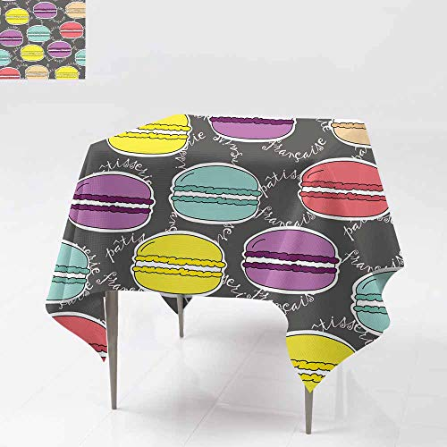 - AFGG Custom Tablecloth,Seamless Pattern Vector Doodle Hand Drawn Colorful mac,for Square and Round Tables 54x54 Inch aroons on Dark Background Lettering in French Fabric Wallpaper Gift Wrapping