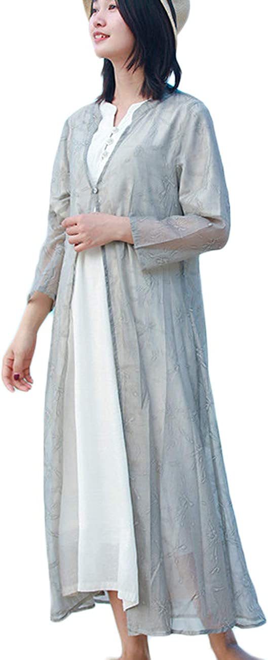 LZJN Women Bohemian Cover Up Open Front Beachwear Kimono Cardigan Long Kaftan Dress