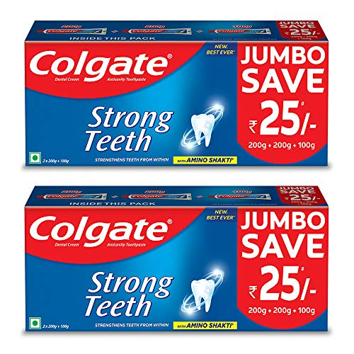 Colgate Strong Teeth Anticavity Toothpaste with Amino Shakti – 500gm (Pack of 2)