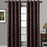 Luxury Savanna Jacquard Curtain Panel ( Set of Two ) – RED – 104X63″ Review