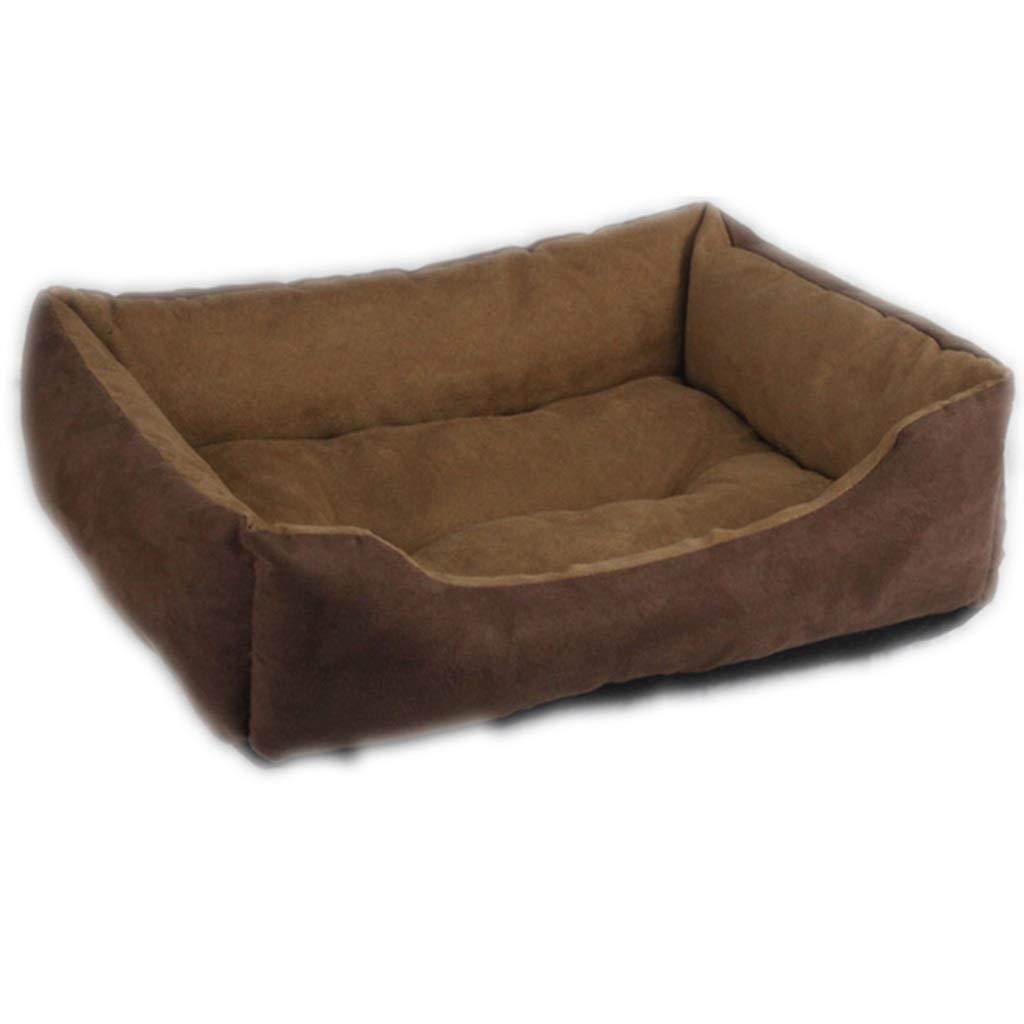 44.53616cm Brown Suede Pet Cat Dog Bed Square Bed Pet Supplies Pet Nest (Size   44.5  36  16cm)