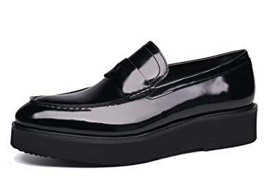 Men's Real Leather Slip on Loafers with Chunky Sole