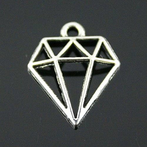 NEWME 80pcs Hollow Diamond -Shaped Charms Pendant For DIY Jewelry Wholesale Crafting Bracelet and Necklace Making