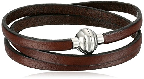 Brown Leather Wrap Stainless Steel Magnetic Clasp Bracelet, 22.5