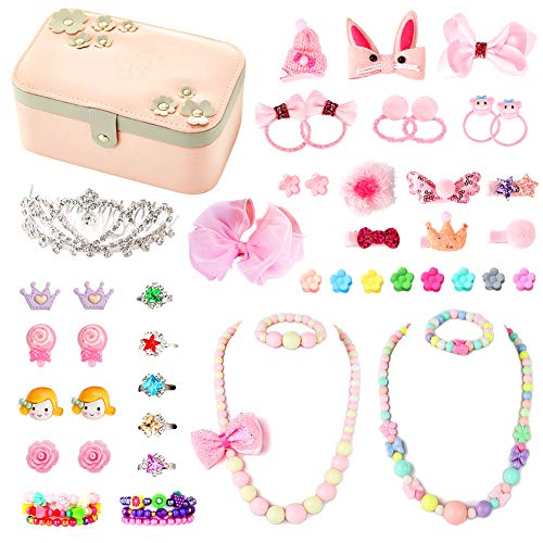 PinkSheep Kids Jewelry Box, Collection Organizer, Beads Necklace, Head Clip, Clip-on Earrings, Girl Dress Up Accessories (48pcs) -