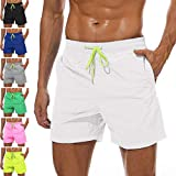 YnimioAOX Men's Swim Trunks Quick Dry Beach Board Shorts Swimwear Bathing Suit with Mesh Lining (A22-white, 34)