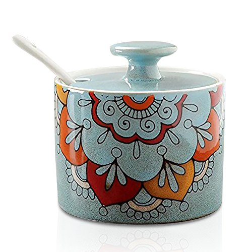 Ceramic Abstract Flower Sugar Bowl with Lid and Spoon Light Blue -