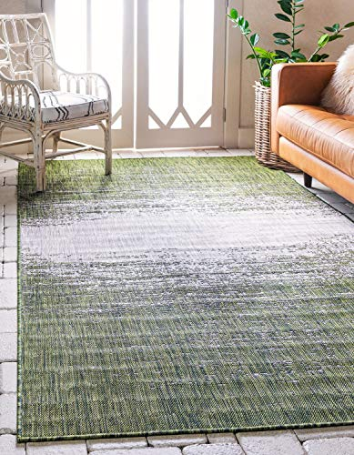 Unique Loom Outdoor Modern Collection Distressed Gradient Transitional Indoor and Outdoor Flatweave Green  Area Rug (7' 0 x 10' ()