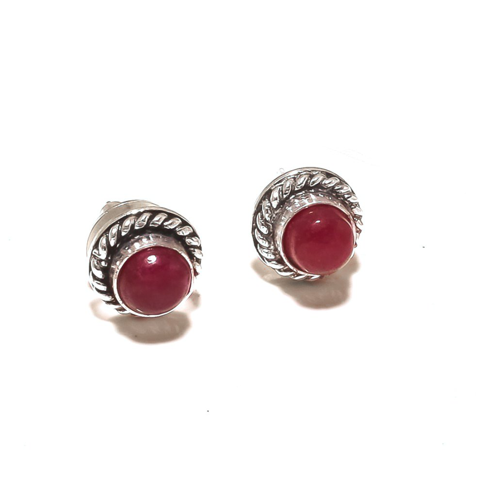 Red Dyed Ruby Sterling Silver Plated 4 grams Stud// Earring 10 mm Handmade Art Jewelry Fantasy