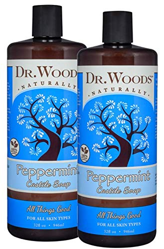 (Dr. Woods Pure Peppermint Liquid Castile Soap, 32 Ounce (Pack of 2))