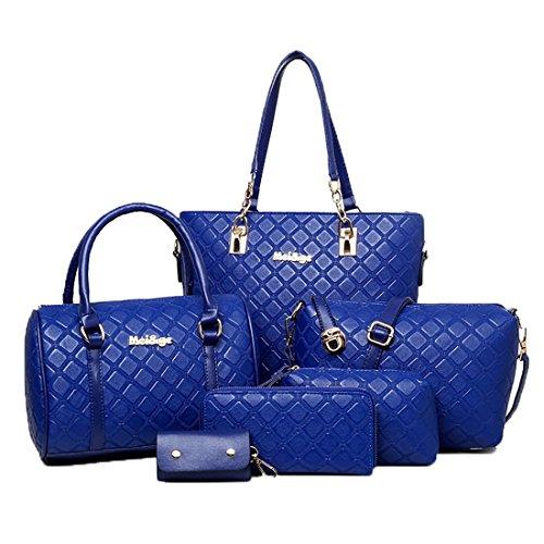 De Bolsos Bolso De Piel Diseño Patente De Ajustado Multiusos Hombro Los Cuero Mujeres De De Clásico Pack 6 Azul Del Bolso qwXvzv