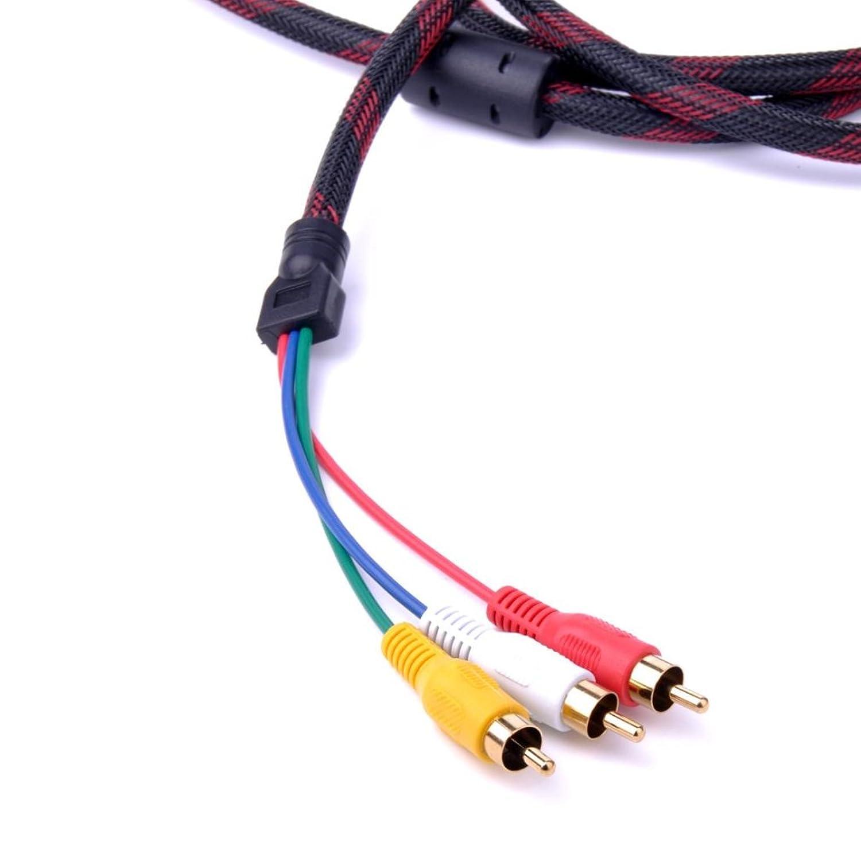 5 Feet 1.5m Hdmi Male to 3rca 3 RCA RGB Video Audio Av Cable