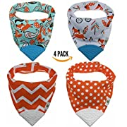 Pickle & Olive Baby/Toddler Bandana Teething Bibs With Attached BPA-Free Silicone Teether, Set Of 4, Water-Resistant, Adjustable Snaps, No Velcro, Best Unique Baby Shower Gift For Moms, Orange Fox