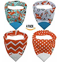 Pickle & Olive Baby/Toddler Bandana Teething Bibs With Attached BPA-Free Sili...