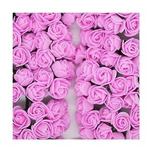 HANBINGPO 36/72/144pcs 2cm Decorative Teddy Bear Rose PE Foam Artificial Flower Bouquet for Home Wedding Decoration DIY Wreath Fake Flower,Dark Pink,36pcs 34