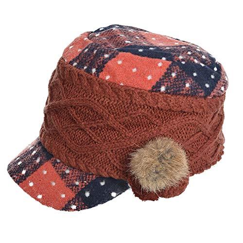 (MEIZOKEN Women Wool Knitted Newsboy Hat Girls Fashion Fur Cabbie Cadet Winter Hat Warm Visor Cap,Orange)
