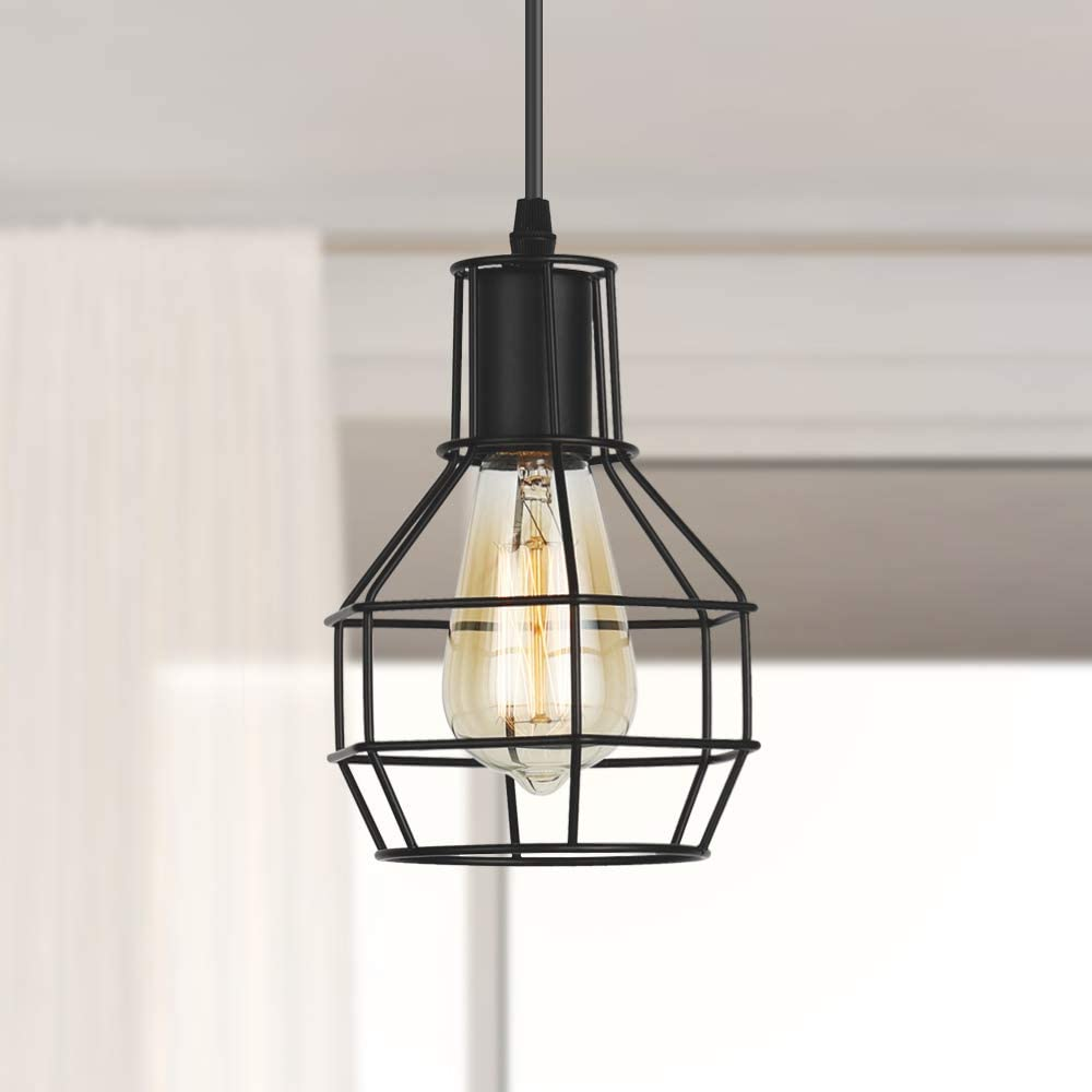 RZChome Industrial 1-Light Mini Wire Pendant Light, Silver Brushed Kitchen Island Lighting with Metal Cage Shade and Adjustable Cord, Fit for Dining Room,Living Room