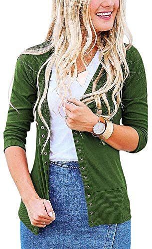 Women's S-3XL Solid Button Front Knitwears 3/4 Sleeve Casual Cardigans Olive 3XL