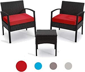 Outdoor Chairs Set Bistro Set 3 Pieces Patio Conversation Set Furniture Set for Small Balcony Rattan Chairs and Table with Cushions Red