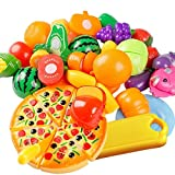 Elisona-24 Pcs Plastic Cutting Fruit Pizza Vegetable toys Kids Children Educational Mini Kitchen Ware toys Pretend Play Food Toys Set