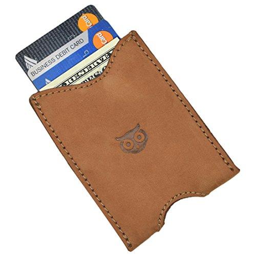 (Rustic Leather Pocket Sleeve Wallet Card Holder Handmade by Hide & Drink :: Toffee Suede)