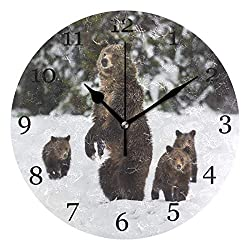 KUWT Winter Snow Grizzly Bear Wall Clock Silent Non-Ticking 9.5 Inch Round Clock Acrylic Art Painting Home Office School Decor