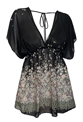 Tunic Lined V-neck - eVogues Plus Size Sheer Deep Cut V-Neck Floral Print Tunic Top Black 17612-3X