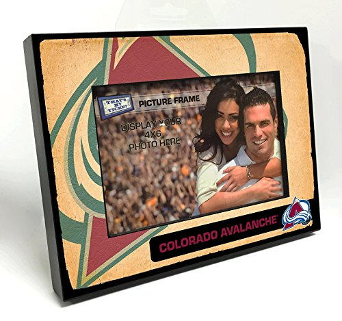That's My Ticket NHL Colorado Avalanche Vintage Look Wooden Picture Frame, Multicolor, 4