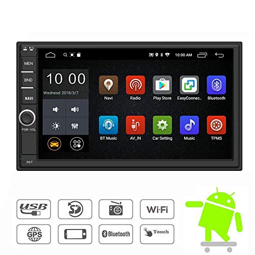 YODY Android Double Din Car Stereo Radio 7 Inch Touch Screen in Dash GPS Navigation Support WiFi Bluetooth Mirror Link SWC OBD with Free Backup Camera