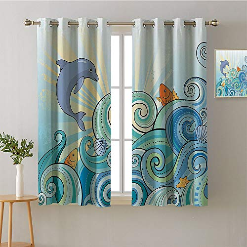 (Jinguizi Curtain for Bedroom Grommets Sliding Darkening Curtains Indoor Darkening Curtains Family Darkening Curtains Privacy Assured Window Treatment(2 Pieces, 52