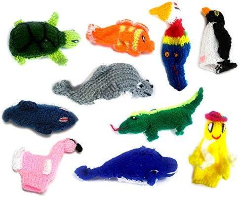 [해외]Handmade Knit Finger Puppet 12 Piece Set Children Kids Toddler School Educational Story Telling Play Time Theme Show Toy - 1 Dozen Assorted Tropical Island Sea Animals / Handmade Knit Finger Puppet 12 Piece Set Children Kids Toddle...