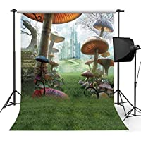 Kooer 5x7ft The Fairy Tale Style Wall Photography Backdrops The Huge Mushrooms Photography Backgrounds Photo Studio Prop Baby Children Family Photoshoot Backdrop Customized Various Size