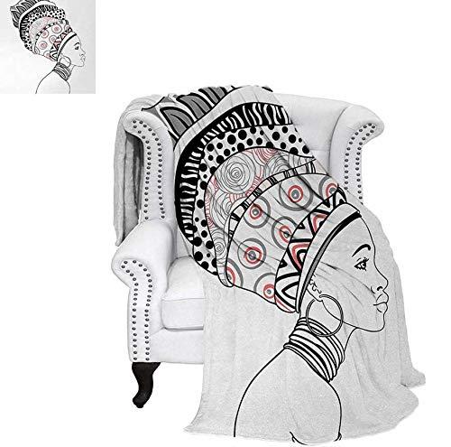 Velvet Plush Throw Blanket Exotic Safari Lady in Boho Turban Glamour Authentic Folkloric Fashion Design Print Throw Blanket 80