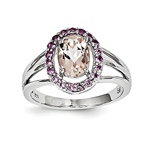 - Sterling Silver Morganite & Pink Sapphire Oval Ring