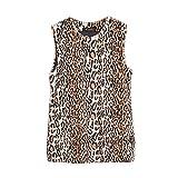 ELINKMALL Women Leopard Print Vest Faux Fur Warm Waistcoat Outwear Jacket Coat
