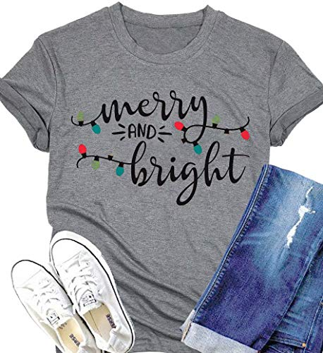 DUTUT Merry and Bright Christmas Lights T-Shirts Womens Letter Print Short Sleeve O-Neck Holiday Tops Tees Size XL (Gray)