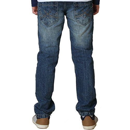 Leo&Lily Big Boys' Kids' Husky Waist Denim Regular Fit Jeans Pants (Blue,16)