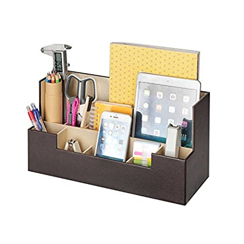 JackCubeDesign Leather Office Desk Stationery Organizer Supplies Storage Box Case Caddy Tray Cosmetic Display Holder Phone Tablet Stand(Brown, 13.4 x 5.1 x 7.1 - Brown Phone