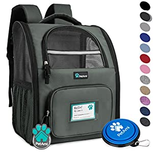PetAmi Deluxe Pet Carrier Backpack for Small Cats and Dogs, Puppies | Ventilated Design, Two-Sided Entry, Safety Features and Cushion Back Support | For Travel, Hiking, Outdoor Use (Dark Gray)