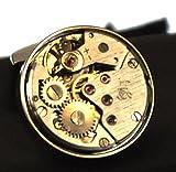 Onyx Art Cufflinks - Steampunk Rhodium Watch Movement