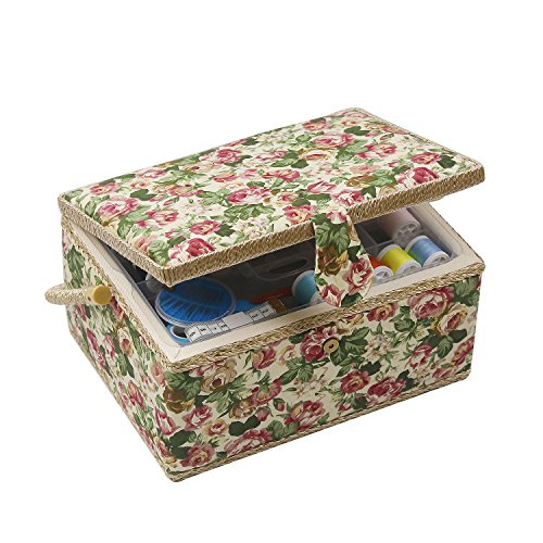 D&D Sewing Basket Craft Sewing Storage Box - Includes Sewing Kit Accessories/Removable Tray/Handle/ Built-In Pin Cushion & Interior Pocket - Flower - Large 12.2 x 9.2 x 6.7 inches by D&D