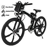 Yiilove Electric Mountain Bike 26'' Wheel Ebike 36V Lithium-Ion Battery, Electric Bicycle 250W Powerful Motor, Shimano 21 Speed (Type2-26-Foldable-Black)