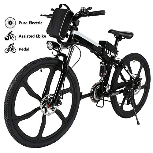 Yiilove Electric Bicycle 26'' Electric Mountain Bike for Adult with 36V Lithium-Ion Battery Ebike 250W Powerful Motor 21 Speed (Black)